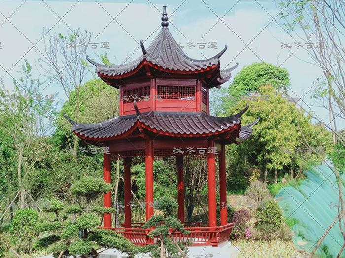 岳阳旅游区仿古重檐亭施工中